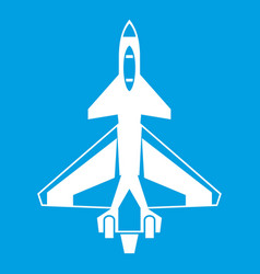 military fighter jet icon white vector image