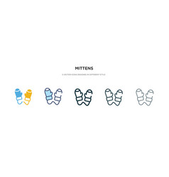 Mittens icon in different style two colored and vector