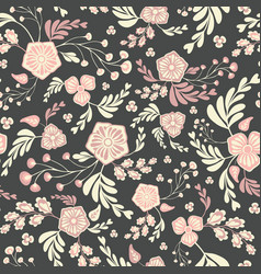 mixed floral and leaves seamless repeat vector image