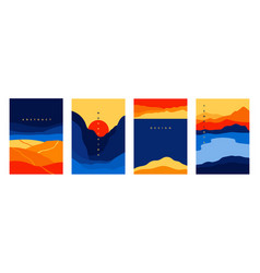 mountains and sea poster abstract geometric vector image