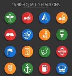 Navigation 16 flat icons vector