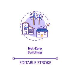 Net-zero buildings concept icon vector