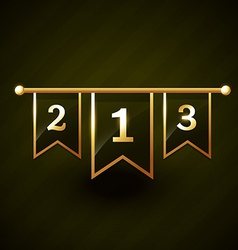 number one two three golden label vector image