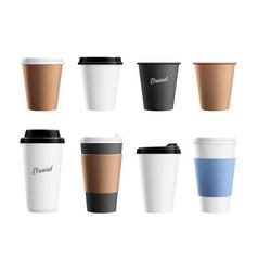 paper cup mockup brown eco mug template vector image