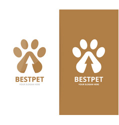 paw and arrow up logo combination pet and vector image