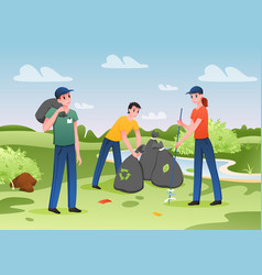 people collect plastic or paper trash garbage vector image