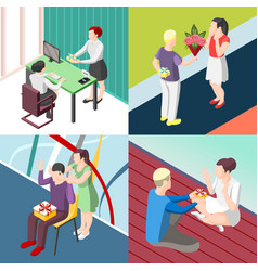 People with gifts isometric concept vector