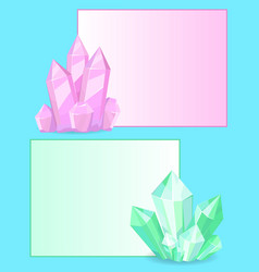 pink and green crystals gemstones organic minerals vector image