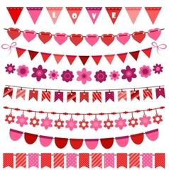 Pink and red bunting and garland set vector