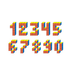 pixel retro video game numbers 80 s retro vector image