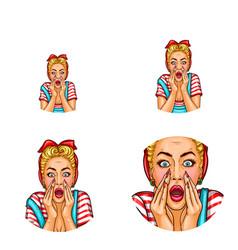 pop art avatar of screaming shouting vector image