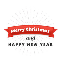 red paper ribbon with text merry christmas and vector image