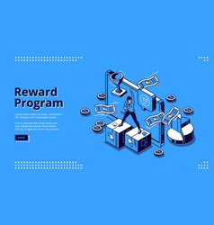 Reward program isometric landing page cashback vector