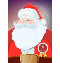 Santa Claus portrait smiling in snowfall vector image