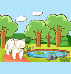 scene with polar bear in forest vector image