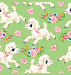 seamless pattern lambs on green background vector image