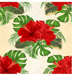 Seamless texture bouquet with tropical flowers vector