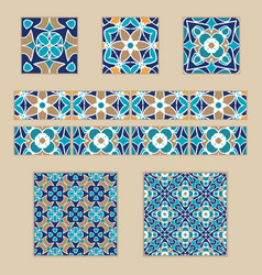 set of moroccan tiles and borders vector image