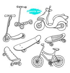 set sport doodle 2 vector image