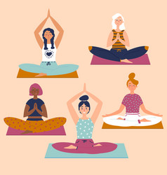 set with beautiful women in lotus pose of yoga vector image