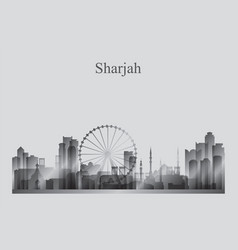 sharjah city skyline silhouette in grayscale vector image