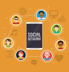 smartphone social network community app vector image