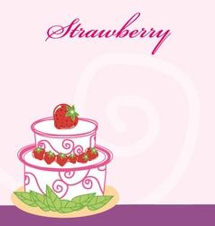 Strawberry cake memo vector