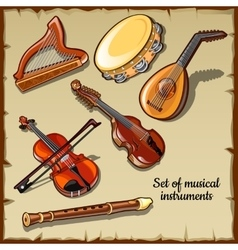 String and wind musical instruments six icons vector image