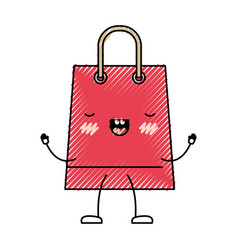 trapezoid animated kawaii shopping bag icon with vector image