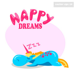 Unny sleeping unicorn vector