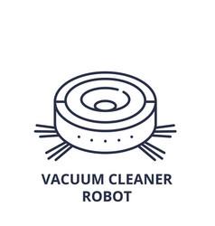 vacuum cleaner robot line icon concept vacuum vector image