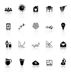 Virtual organization icons with reflect on white vector
