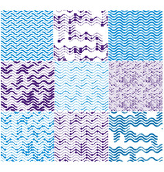 wavy technical lines seamless patterns set vector image