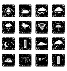 Weather set set icons grunge style vector