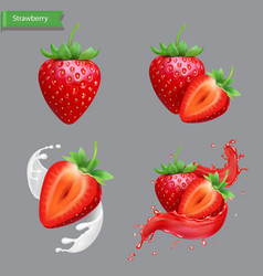 Whole and slice strawberry set strawberry juice vector