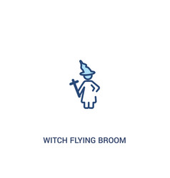 Witch flying broom concept 2 colored icon simple vector