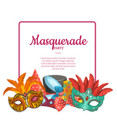 with masks and party accessories vector image
