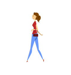 Young woman in fashionable clothes vector