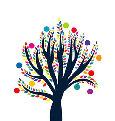 Abstract tree with colored leaves and fruits vector image