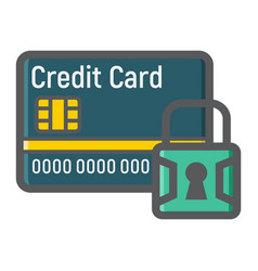 credit card with padlock colorful line icon vector image