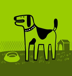 dog in green vector image vector image