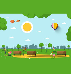 park with benches people and city skyline vector image vector image