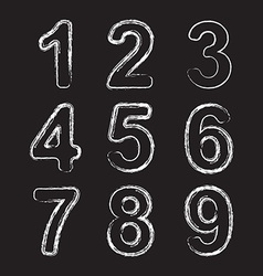 Set Chalk Hand Drawing Number vector image