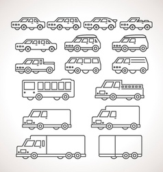 Cart Types Outline Icons vector image vector image