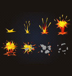cartoon front boom explosion effect with vector image