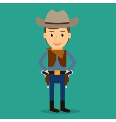 Country western boy dressed as cowboy vector