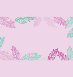cute background with feathers card design vector image