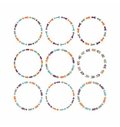 Cute colorful circle arrow border patterns set vector