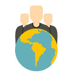 globe and group of people icon isolated vector image