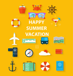 icons summer vacation in a flat style vector image vector image
